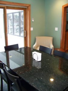Okemos Addition Description: Granite table top to match countertops in kitchen.