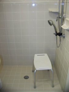 East Lansing/Okemos.  Ceramic tile shower with handheld shower head on grab bar. Ceramic saop dish and corner shelf.