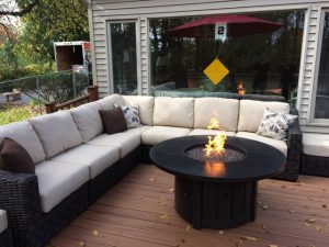 Okemos Rear Deck Description: Gas fireplace installed