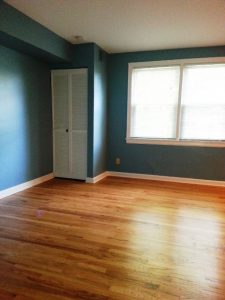 East Lansing Condo Remodel Description: Sanded and refinished hardwood floors.  Drywalled ceilings. Painted walls, ceiling, and trim.